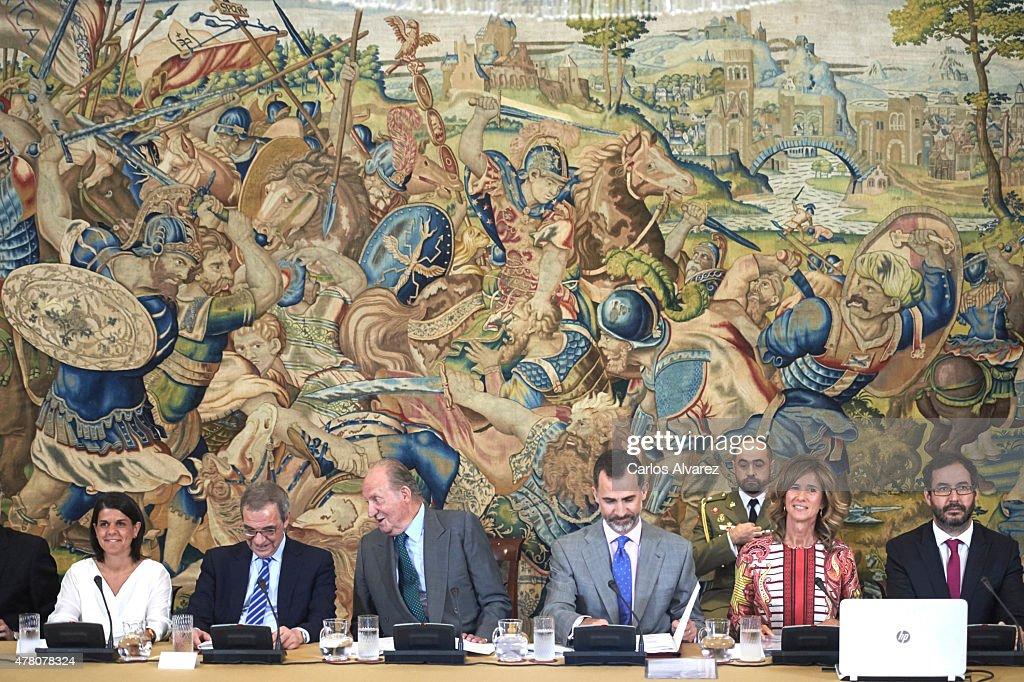 King Felipe VI of Spain (3R) and King Juan Carlos (3L) receive COTEC Foundation members at the Zarzuela Palace on June 22, 2015 in Madrid, Spain.