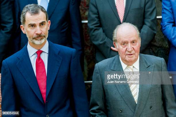 King Felipe VI of Spain and King Juan Carlos receive COTEC Foundation members at Palacio Real De El Pardo on June 7 2018 in Madrid Spain
