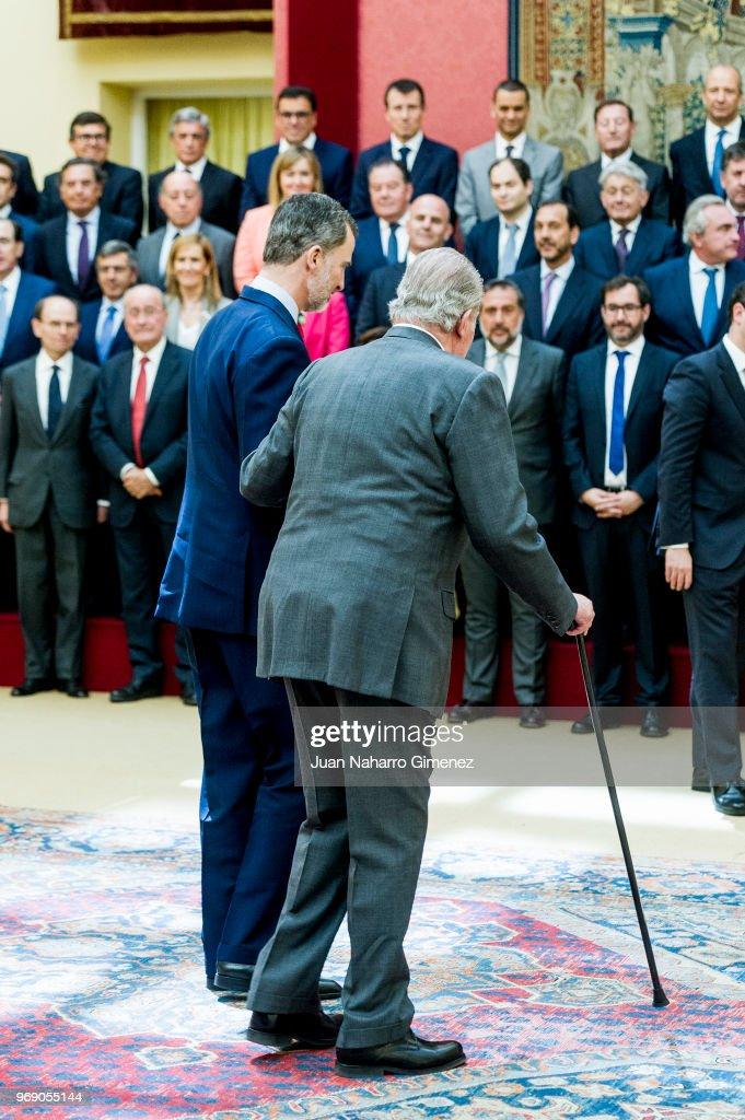 King Juan Carlos And King Felipe of Spain Meets COTEC Foundation Members