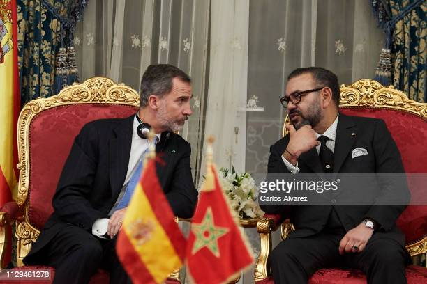 King Felipe VI of Spain and King King Mohammed VI of Morocco attends the signing of bilateral agreements at the Agdal Royal Palace on February 13...