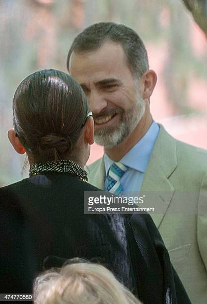 King Felipe VI of Spain and Laura Ponte attend the First Communion of Luis and Laura GomezAcebo on May 23 2015 in Madrid Spain