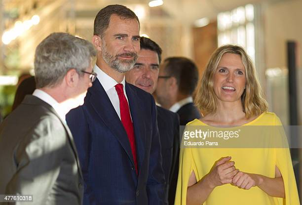 King Felipe VI of Spain and Minister of Industry Jose Manuel Soria attend IN3 forum at Google campus on June 18 2015 in Madrid Spain