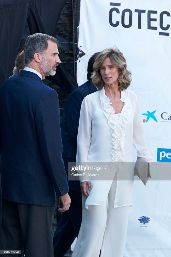 King Felipe VI of Spain and President of COTEC Foundation Cristina Garmendia attend COTECT event at the Vicente Calderon Stadium on June 12, 2017 in Madrid, Spain.