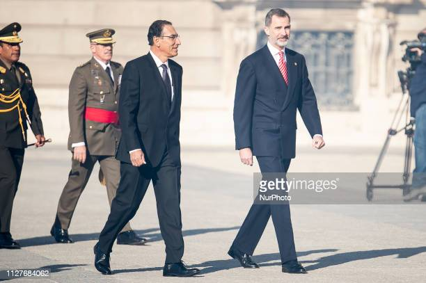 King Felipe VI of Spain and President of Peru Martin Vizcarra during the state visit of President of Peru Martin Vizcarra and his wife Maribel Diaz...