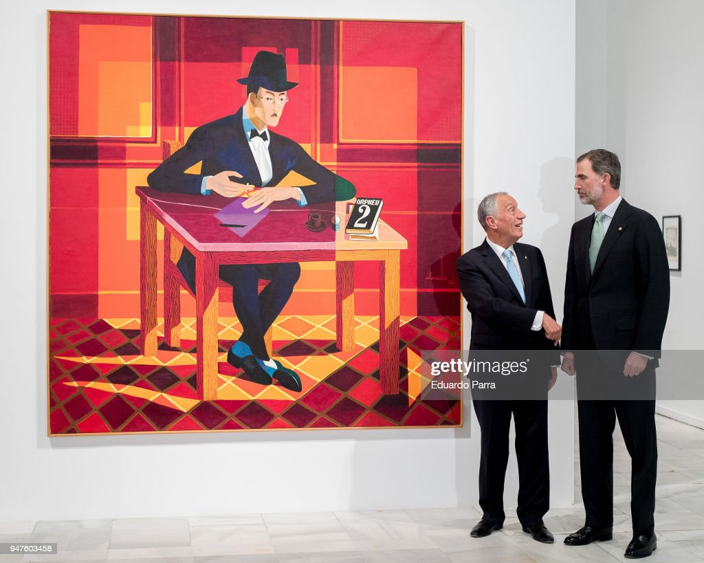 King Felipe Of Spain And Portuguese President Visit  Pessoa Exhibition in Madrid