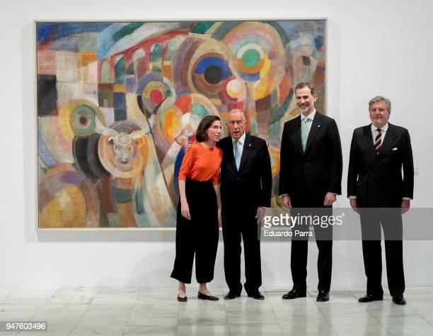 King Felipe VI of Spain and president of Portugal Marcelo Rebelo de Sousa attend 'Pessoa Todo arte es una forma de literatura' exhibition at Reina...