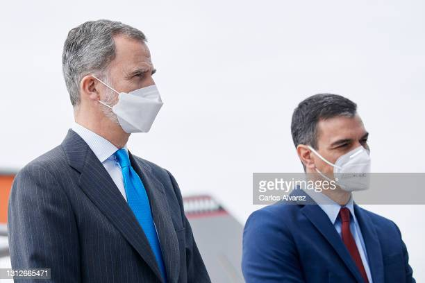 King Felipe VI of Spain and President Pedro Sanchez inaugurate the new Airbus Campus on April 15, 2021 in Getafe, Spain.