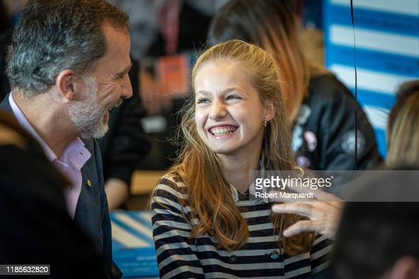 King Felipe VI of Spain and Princess Leonor de Borbon attend the El Talento Atrae Al Talento held at the Palau de Congressos de Catalunya on November...