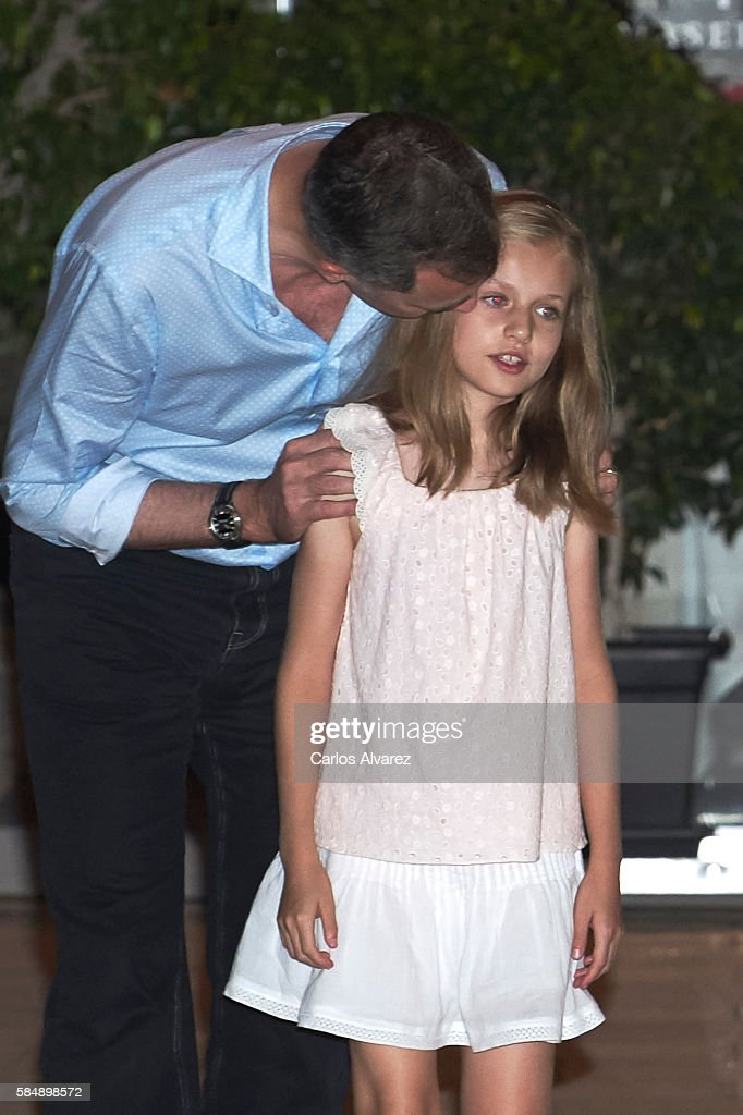 King Felipe VI of Spain and Princess Leonor of Spain are seen at the Flaningan Restaurante on July 31, 2016 in Portals Nous, near of Palma de Mallorca, Spain.