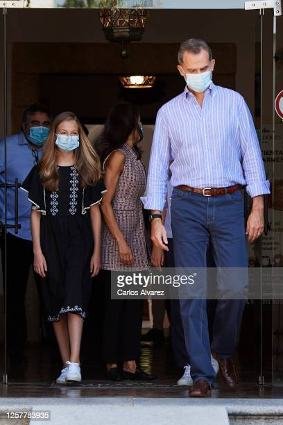 King Felipe VI of Spain and Princess Leonor of Spain are seen leaving from the Parador of Merida on July 23, 2020 in Merida, Spain. This trip is part...