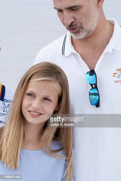 King Felipe VI of Spain and Princess Leonor of Spain attend the 38th Copa del Rey Mapfre Sailing Cup on August 01, 2019 in Palma de Mallorca, Spain.