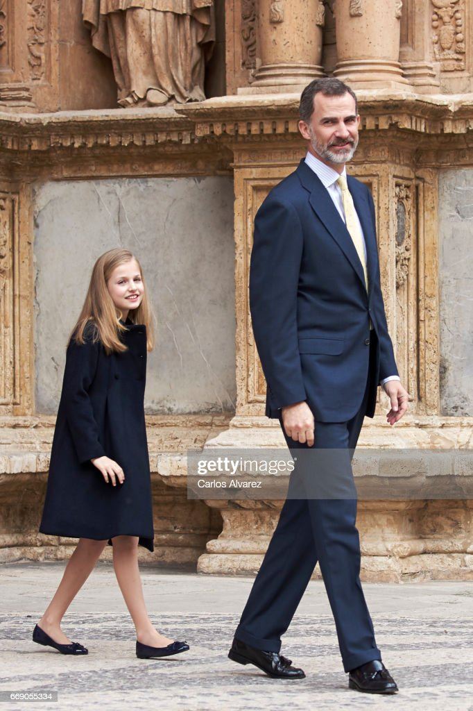 King Felipe VI of Spain and Princess Leonor of Spain attend the Easter Mass at the Cathedral of Palma de Mallorca on April 16, 2017 in Palma de Mallorca, Spain.