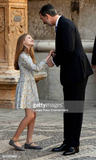 King Felipe VI of Spain and Princess Leonor of Spain attend the Easter mass on April 1 2018 in Palma de Mallorca Spain