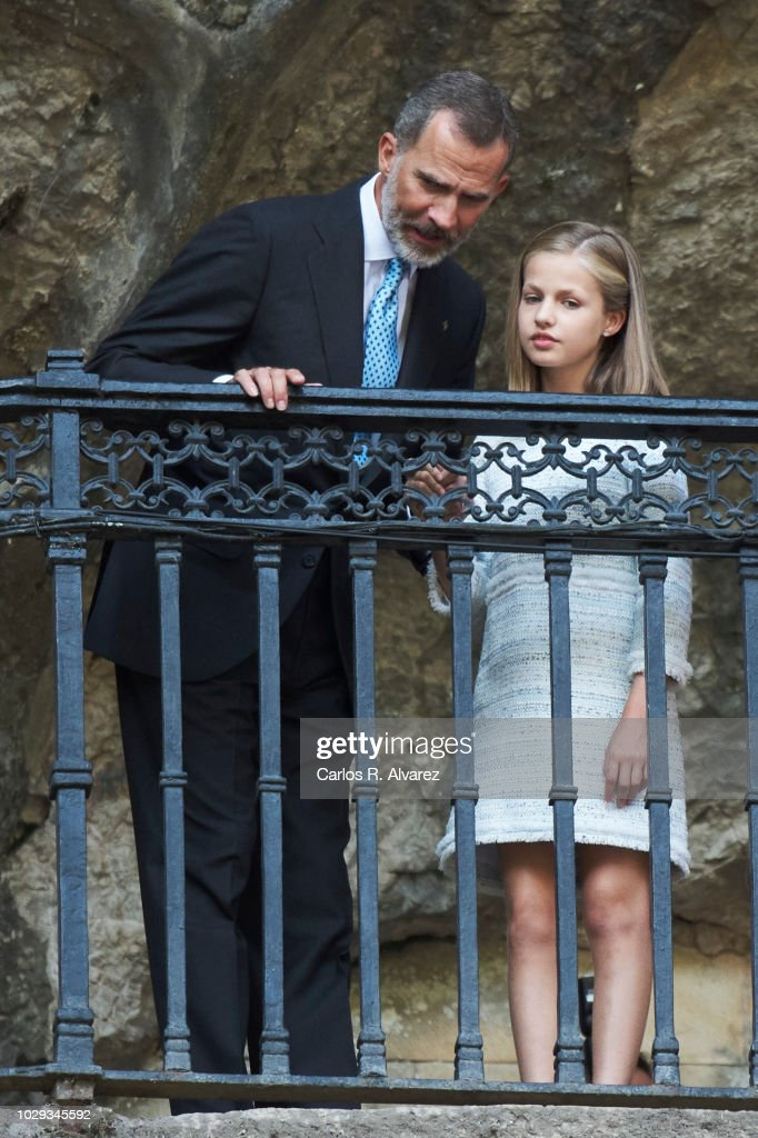 King Felipe VI of Spain and Princess Leonor of Spain attend the Centenary of the Catholic Coronation of the Virgin of Covadonga at Santa Cueva de Covadonga on September 8, 2018 in Covadonga, Spain.