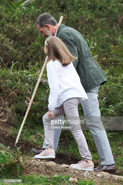 King Felipe VI of Spain and Princess Leonor of Spain attend the Centenary of the creation of the National Park of Covadonga's Mountain and the...