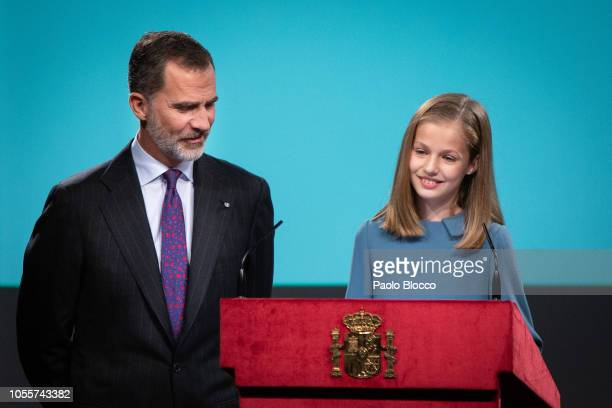 King Felipe VI of Spain and Princess Leonor of Spain attend the reading of the Spanish Constitution for the 40th anniversary of its approval by the...