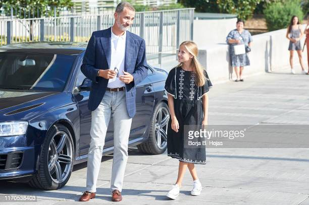 King Felipe VI of Spain and Princess Leonor of Spain is seen arriving to visit King Juan Carlos at Quiron Hospital on August 27 2019 in Pozuelo de...