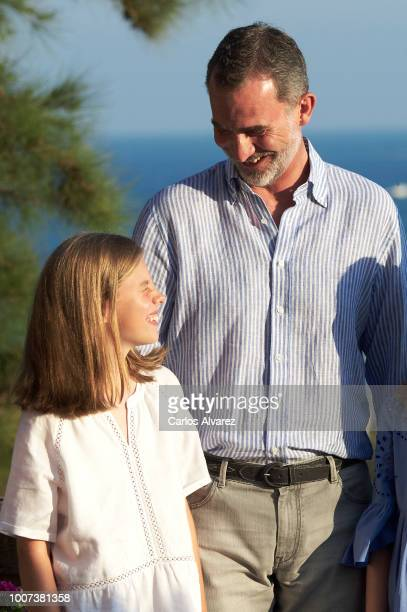 King Felipe VI of Spain and Princess Sofia of Spain pose for the photographers during the summer session at the Almudaina Palace on July 29 2018 in...