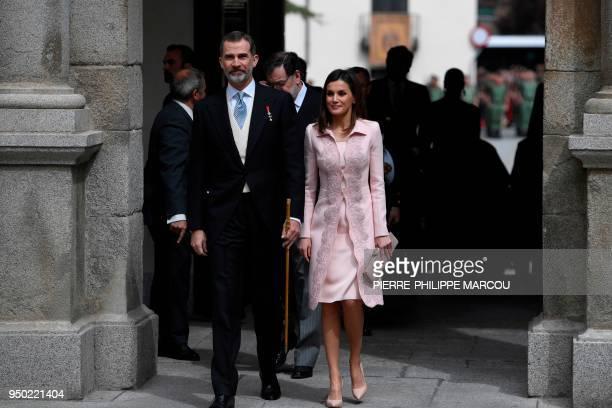 King Felipe VI of Spain and Queen Letizia arrive at the Alcala de Henares University, near Madrid, on April 23, 2018 to award the 2017 Miguel de...