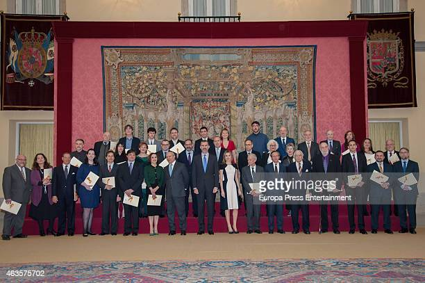 King felipe VI of Spain and Queen Letizia attend 'National Culture Awards' 2015 on February 16 2015 in Madrid Spain
