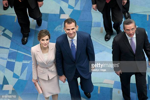 King Felipe VI of Spain and Queen Letizia of Spain and Governor of Puerto Rico Alejandro Garcia Padilla arrive to the Inauguration of VII Congreso...