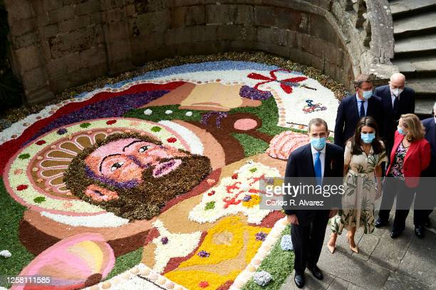 King Felipe VI of Spain and Queen Letizia of Spain are seen arriving at the church of San Martin Pinairo on July 25, 2020 in Santiago de Compostela,...