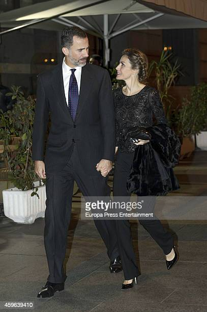 King Felipe VI of Spain and Queen Letizia of Spain are seen going to Jaume Anglada's concert on November 05 2014 in Madrid Spain