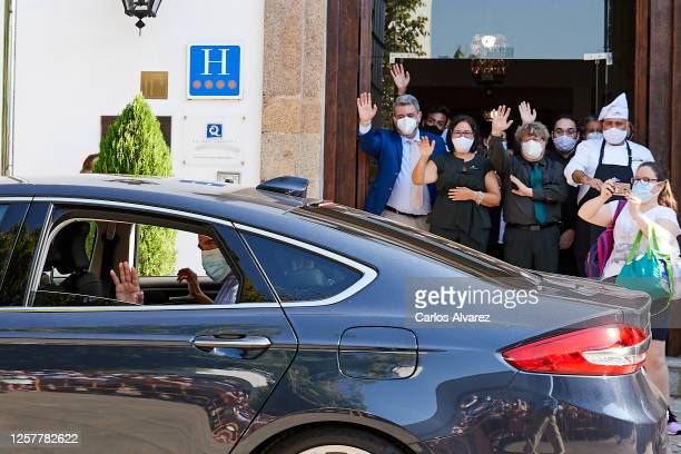 King Felipe VI of Spain and Queen Letizia of Spain are seen leaving from the Parador of Merida on July 23, 2020 in Merida, Spain. This trip is part...