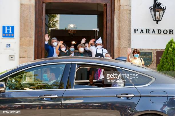 King Felipe VI of Spain and Queen Letizia of Spain are seen leaving from the Parador of Merida on July 23 2020 in Merida Spain This trip is part of a...