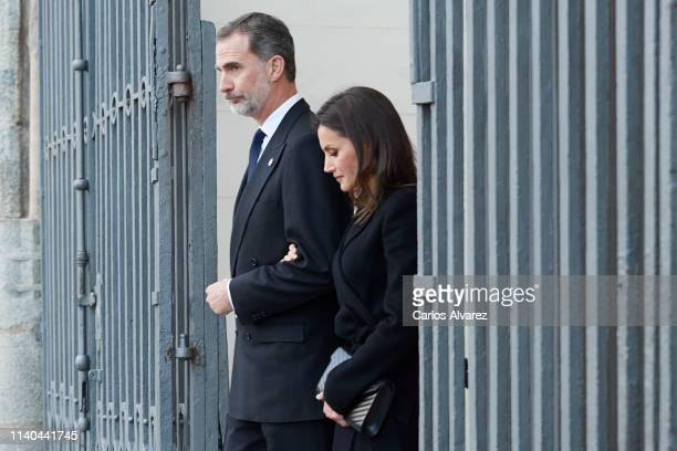 King Felipe VI of Spain and Queen Letizia of Spain arrive at a memoriam funeral for Jose Pedro PerezLlorca Rodrigo at San Jeronimo El Real Church on...