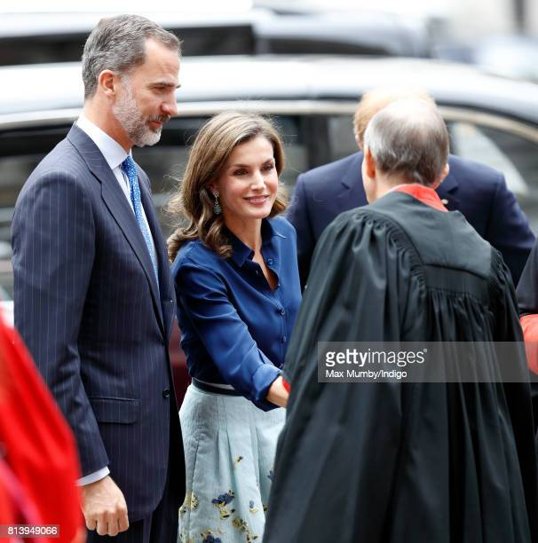 King Felipe VI of Spain and Queen Letizia of Spain arrive at Westminster Abbey to lay a wreath at the Grave of the Unknown Warrior during day 2 of...