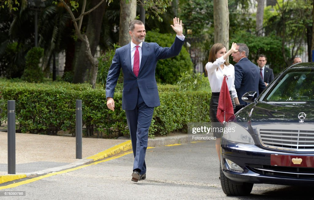 King Felipe VI of Spain (L) and Queen Letizia of Spain arrive to the National Library on May 4, 2017 in Madrid, Spain.