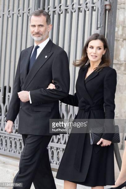 King Felipe VI of Spain and Queen Letizia of Spain arrived at a memoriam funeral for Jose Pedro Perez-Llorca Rodrigo at San Jeronimo El Real Church...