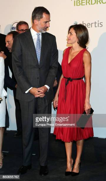 King Felipe VI of Spain and Queen Letizia of Spain attend a concert to commemorate the Vocento 25th Anniversary at Royal Theatre on September 21 2017...