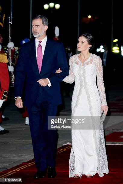 King Felipe VI of Spain and Queen Letizia of Spain attend a Gala dinner at the Royal Palace on February 13, 2019 in Rabat, Morocco. The Spanish...