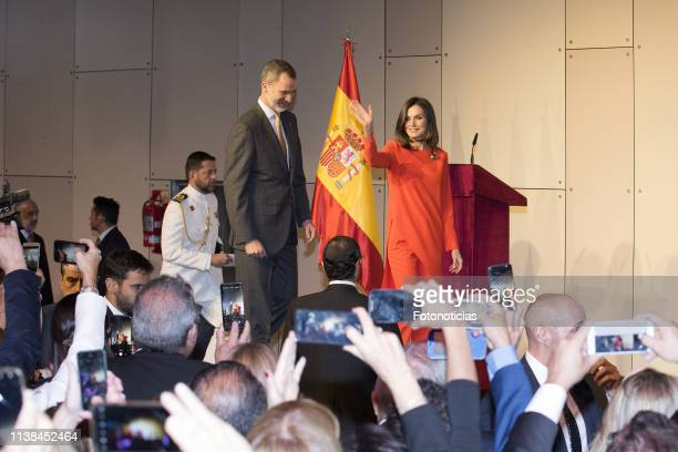 King Felipe VI of Spain and Queen Letizia of Spain attend a meeting with members of the Spanish Community during day two of the official visit of the...