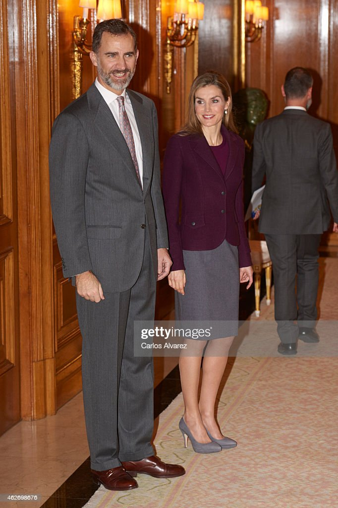 Spanish Royals Attend a Meeting With Members of The Royal Theatre Foundation : News Photo
