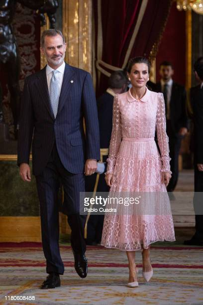 King Felipe VI of Spain and Queen Letizia of Spain attend a reception at the Royal Palace during the National Day on October 12 2019 in Madrid Spain