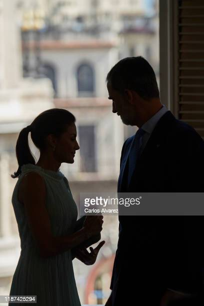 King Felipe VI of Spain and Queen Letizia of Spain attend a reception to Spanish community at the Alicia Alonso Gran Theater on November 13, 2019 in...