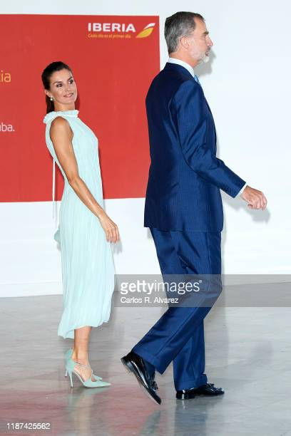 King Felipe VI of Spain and Queen Letizia of Spain attend a reception to Spanish community at the Alicia Alonso Gran Theater on November 13 2019 in...