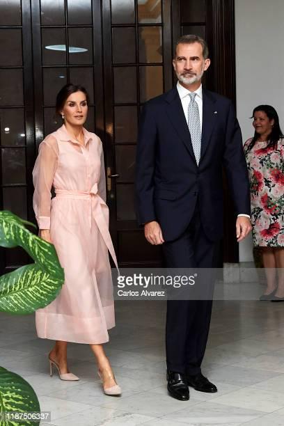 King Felipe VI of Spain and Queen Letizia of Spain attend a reception at the Spanish Embassy on November 13, 2019 in La Havana, Cuba. King Felipe VI...