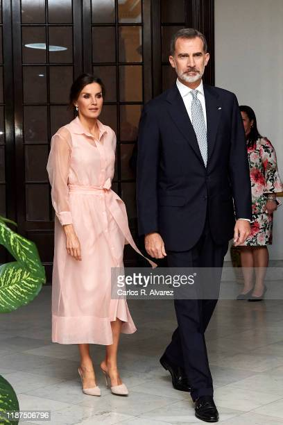 King Felipe VI of Spain and Queen Letizia of Spain attend a reception at the Spanish Embassy on November 13, 2019 in La Havana, Cuba. King Felipe VI...