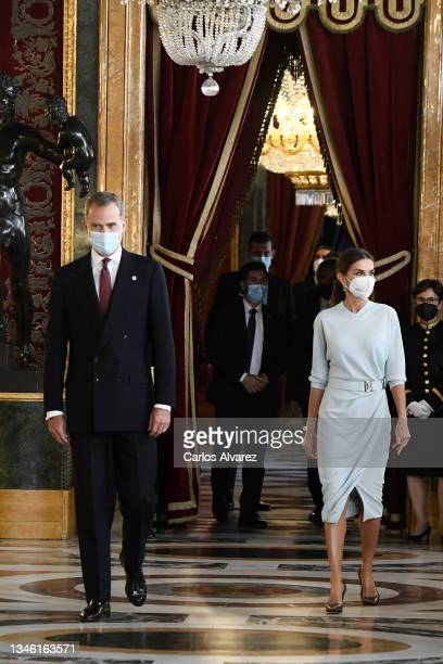 King Felipe VI of Spain and Queen Letizia of Spain attend a reception during the National Day at the Royal Palace on October 12, 2021 in Madrid,...