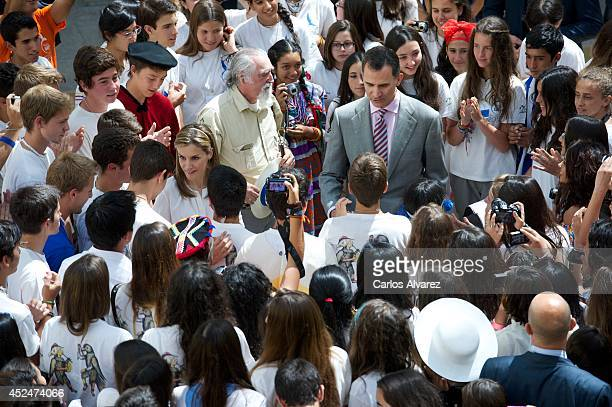 King Felipe VI of Spain and Queen Letizia of Spain attend a reception to members of the Ruta Quetzal BBVA 2014 expedition at El Pardo Palace on July...