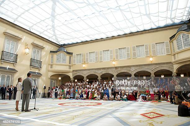 King Felipe VI of Spain and Queen Letizia of Spain attend a reception to members of the 'Ruta Quetzal BBVA 2014' expedition at El Pardo Palace on...