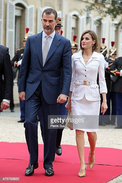 King Felipe VI of Spain and Queen Letizia of Spain attend a reception hosted by french senate president Gerard Larcher at the senate during The...