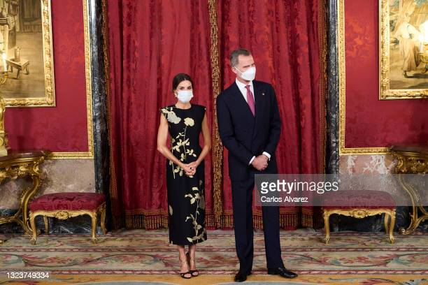 King Felipe VI of Spain and Queen Letizia of Spain attend a State Dinner honouring Korean President at the Royal Palace on June 15, 2021 in Madrid,...