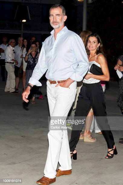 King Felipe VI of Spain and Queen Letizia of Spain attend Ara Malikian concert at Port Adriano on August 1 2018 in Palma de Mallorca Spain