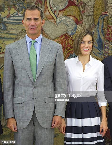 King Felipe VI of Spain and Queen Letizia of Spain attend audiences at Zarzuela Palace on September 2 2015 in Madrid Spain