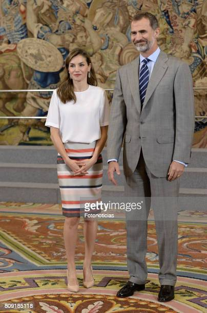 King Felipe VI of Spain and Queen Letizia of Spain attend Audiences at Zarzuela Palace on July 5 2017 in Madrid Spain